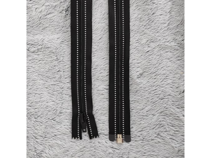zip černý reflexní 60cm dělitelný