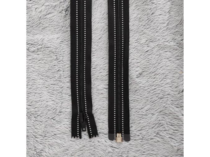 zip černý reflexní 75cm dělitelný