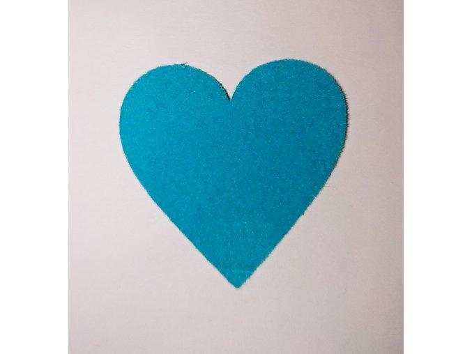 Nažehlovací sametová folie srdce  modré  3x3cm